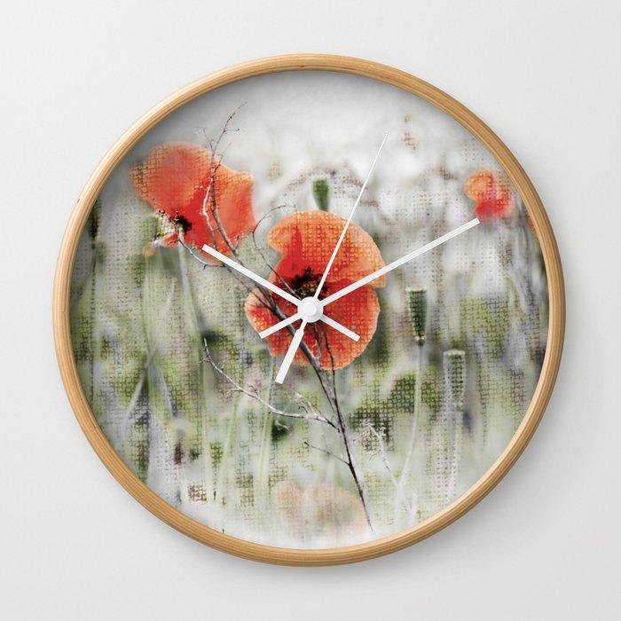 Poppies(mist). Wall Clock
