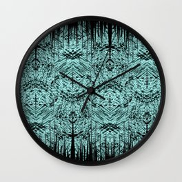 Turquoise Tribal Ethnic Repeat Mirrored Pattern Wall Clock