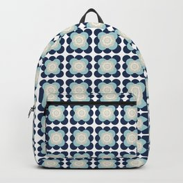 Retro Flower Pattern in Blue and Gray Backpack
