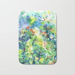 Watercolor Rainforest Leaf Bath Mat