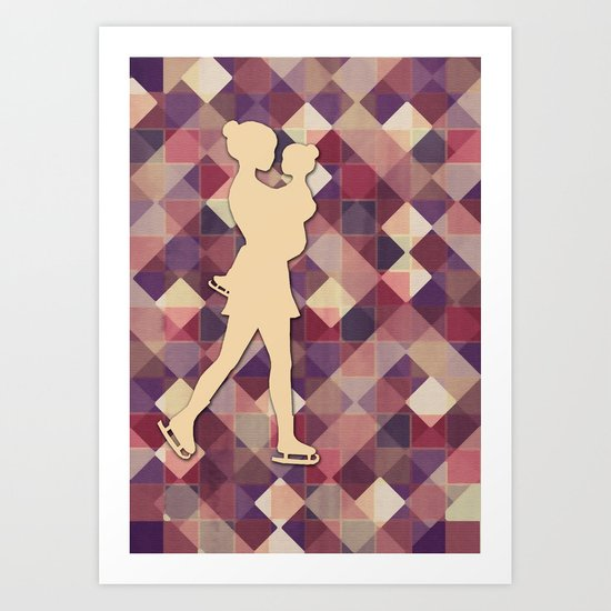 Motherhood - Ice-skating mama and child cut out Art Print