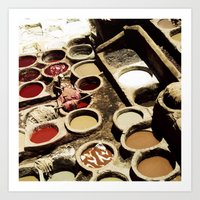 fez Art Prints featuring Tanneries Fez, Morocco by BlueMoonArt