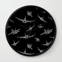 Airplanes on Black Wall Clock