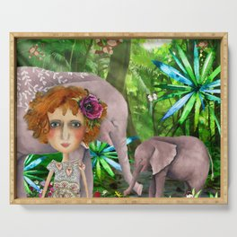 Jungle of happiness watercolour Serving Tray