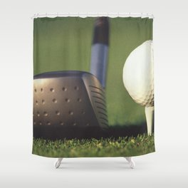 Golf Club and Ball on Tee Shower Curtain