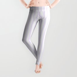 Chalky Pale Lilac Pastel and White Mattress Ticking Stripes Leggings