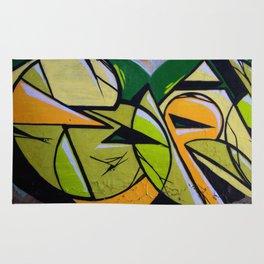 Green and orange graffiti, modern art Rug