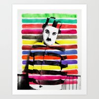charlie chaplin Art Prints featuring Charlie Chaplin by manish mansinh