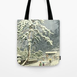 Honmon-Ji Temple at Ikegam by Kawase Hasui  - Japanese Vintage Woodblock Painting Tote Bag