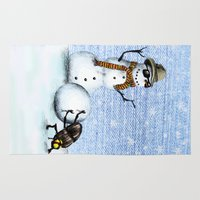 snowman Area & Throw Rugs featuring Snowman by Anna Shell