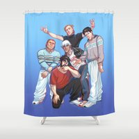 boys Shower Curtains featuring Kirkwall Boys by VIKTOPIA