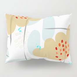 Organic Minimal Flowers and Leaves Shapes Pillow Sham