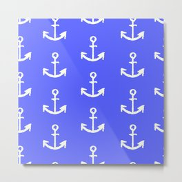 Anchors - Dark Blue Metal Print
