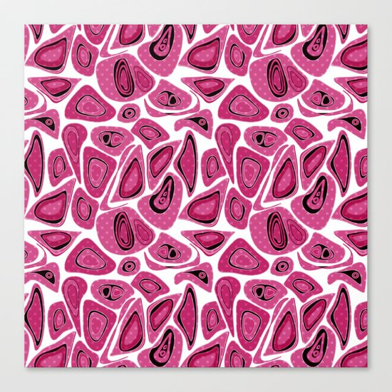Abstract raspberry black pattern. Canvas Print