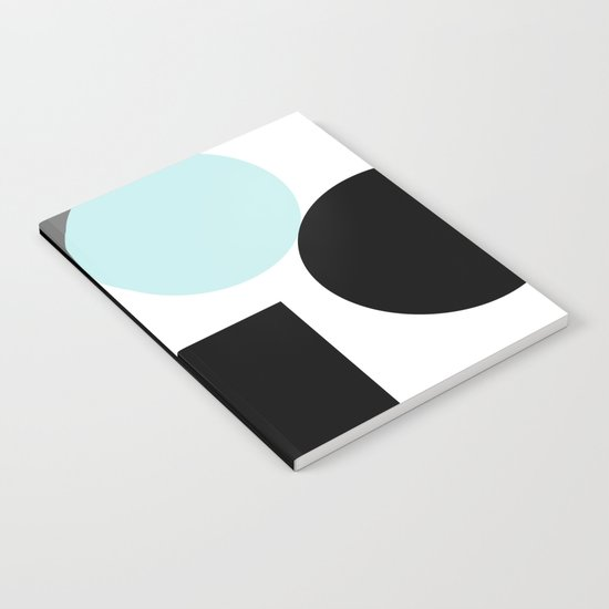 An abstract geometric pattern . Geometric shapes . Black sky blue white pattern . Notebook