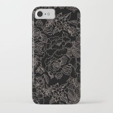 Pink coral tan black floral illustration pattern iPhone 7 Slim Case