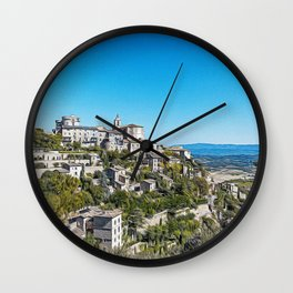 Panoramic view of the medieval village of Gordes Wall Clock