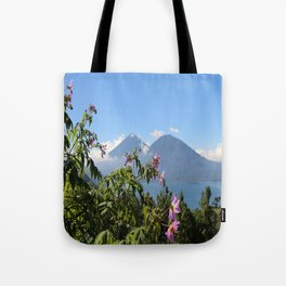 Lago Atitlan and flowers Tote Bag