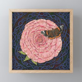 Celtic Rose and Red Admiral Butterfly Framed Mini Art Print