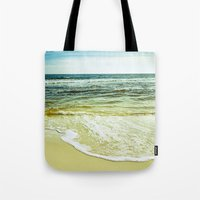 wave Tote Bags featuring wave by Bonnie Jakobsen-Martin