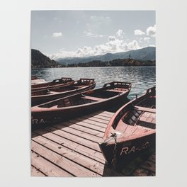 wooden boat at lake bled in the summer Poster
