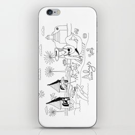 Funny Figurative Line Drawing of Alys Beach Community on 30a iPhone Skin