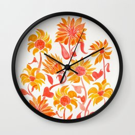 Sunflower Watercolor – Fiery Palette Wall Clock