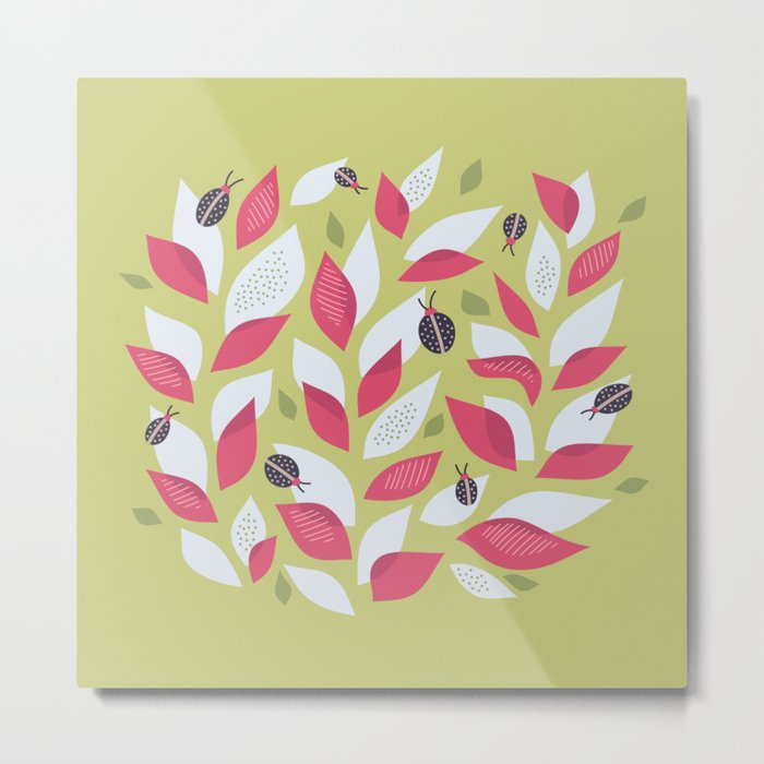 Pretty Plant With White Pink Leaves And Ladybugs Metal Print