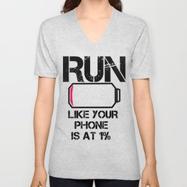 Run Smartphone jogging running Marathon gift gym fitness Sports Unisex V-Neck