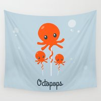 octopus Wall Tapestries featuring Octopus by Jane Mathieu