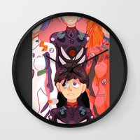 evangelion Wall Clocks featuring Evangelion Kids by minthues