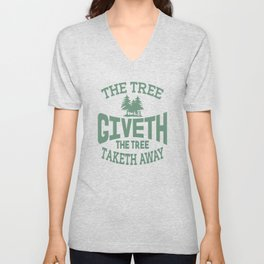 Tree Giveth And Taketh Away Disc Golf Unisex V-Neck