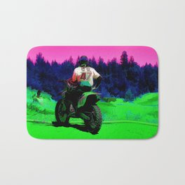Checking the Track - Motocross Racer Bath Mat