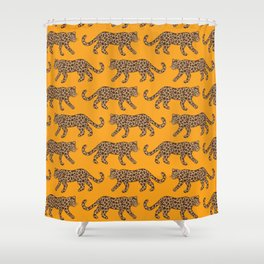 Kitty Parade - Classic Camel on Tangerine Shower Curtain