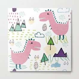 Cool T-rex Fun party pink #homedecor Metal Print