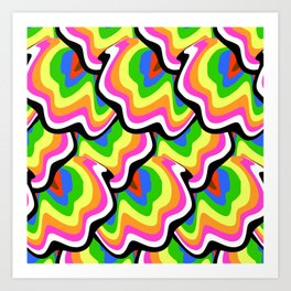 Hippie pattern in rainbow colors Art Print