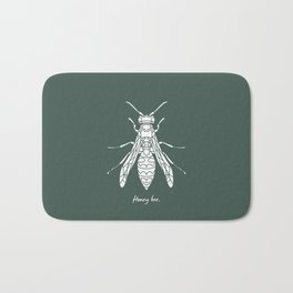 Honey Bee White on Green Background Bath Mat