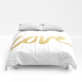 Love Gold White Type Comforters