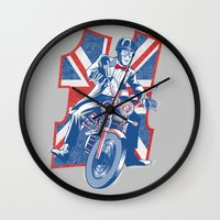daredevil Wall Clocks featuring Who's your favourite Daredevil by Gimetzco's Damaged Goods