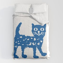 Navy blue cat pattern Comforters