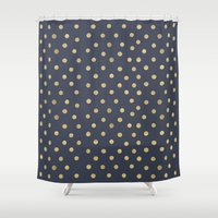 gold dots Shower Curtains featuring Gold Dots on Blue by Tamsin Lucie