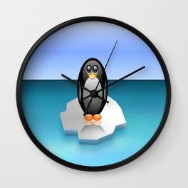 penguin ice floe minimalism antarctic sea Wall Clock