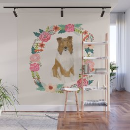 rough collie floral wreath dog breed pet portrait pure breed dog lovers Wall Mural