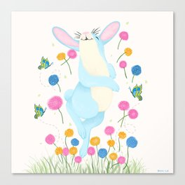 Bouncing Baby Blue Bunny Canvas Print