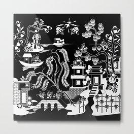 Goo Willow: Black on White Metal Print