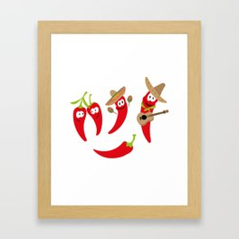 Hot peppers funny happy peppers month November Framed Art Print