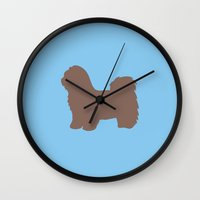 shih tzu Wall Clocks featuring Shih Tzu by Erin Rea