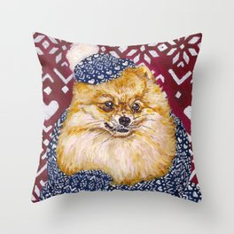 Pomeranian in a Hat and Scarf Throw Pillow