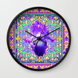 French Fleur de Lys Purple Iris Frankophile Design Wall Clock