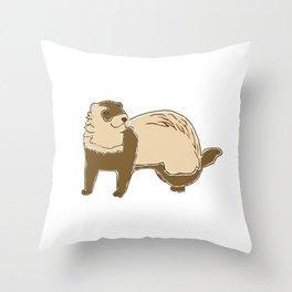 ASMR Ferret Whisperer print I Funny Animals Gift Throw Pillow